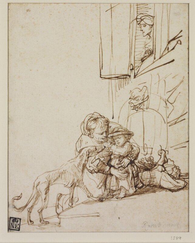 Asszony síró gyermekkel és kutyával, 1635–1636 - forrás: Szépművészeti Múzeum-Magyar Nemzeti Galéria