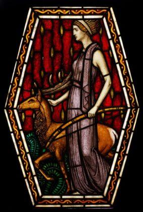 """""""Artemis"""" ólomüveg, Róth Miksa alkotása (Budapest, 1910) - forrás: IMM"""
