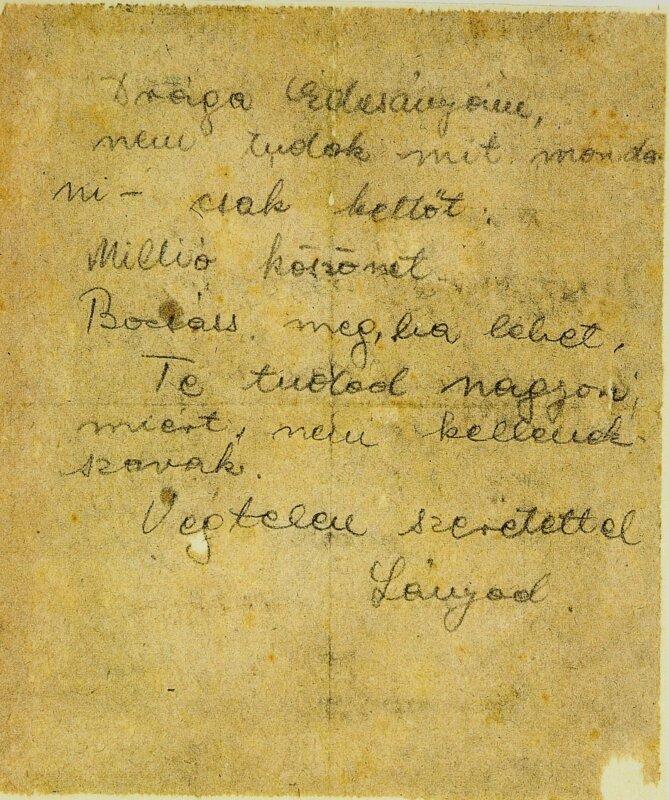 Szenes Hanna utolsó levele édesanyjához - forrás: The Hannah Senesh Collection at the National Library of Israel