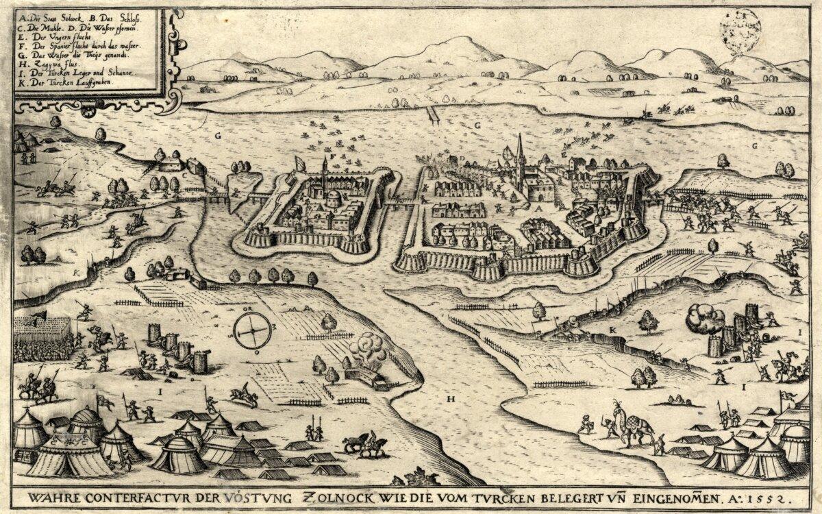 Hans Sibmacher: Szolnok ostroma, 1552. Jól láthatók a fa-föld szerkezetes védművek, várak - forrás: MNM