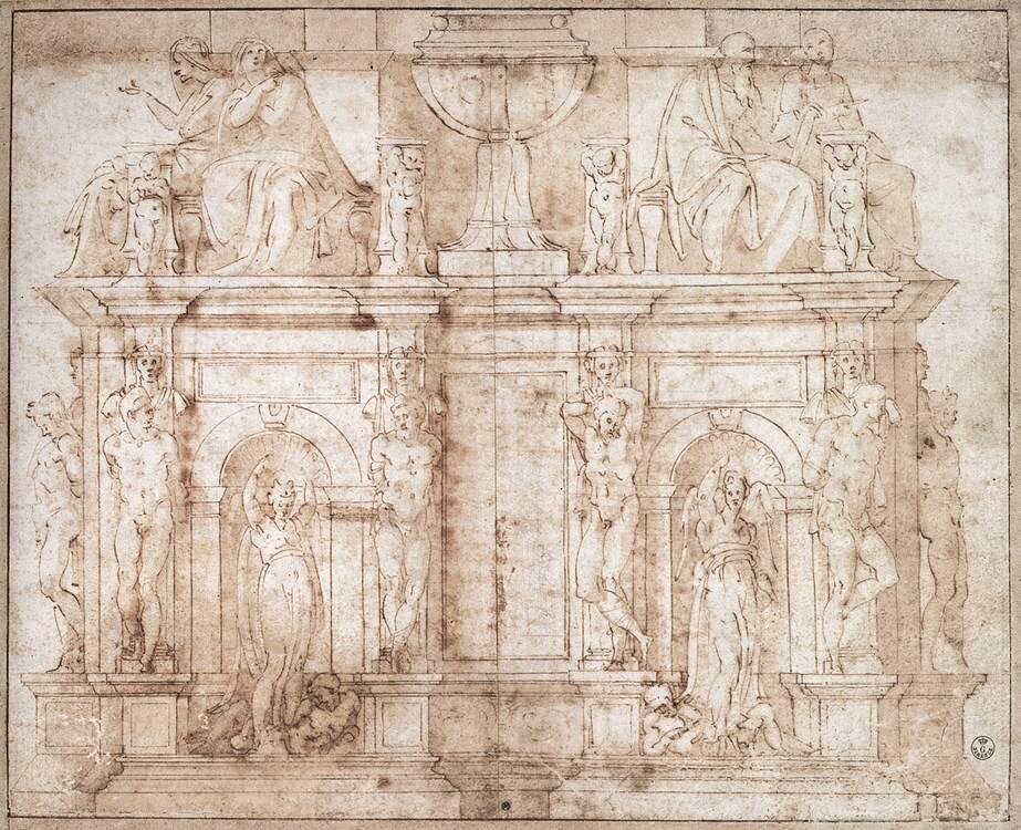 Michelangelo: tervrajz II. Gyula pápa síremlékéhez