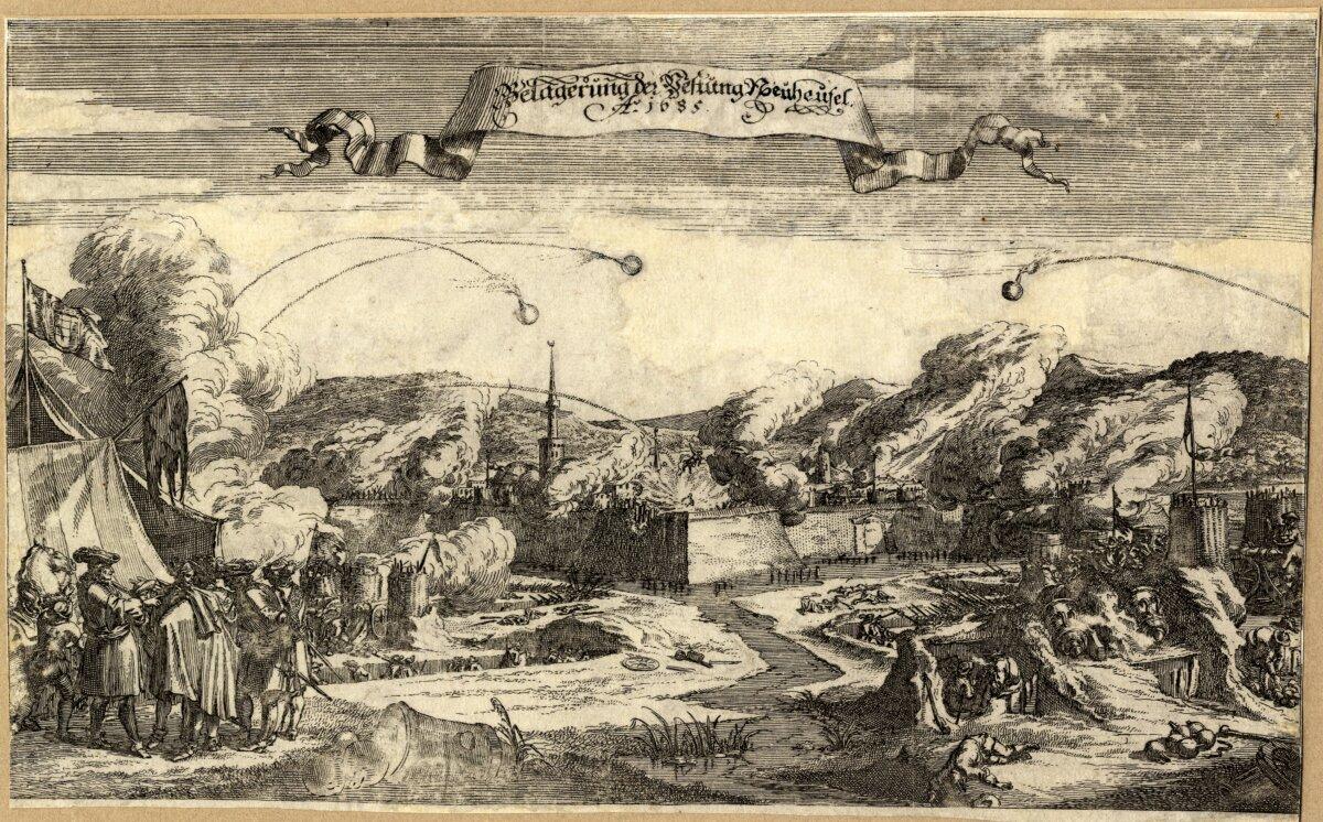 Ismeretlen német mester: Érsekújvár ostroma, 1685. Vetágyúkkal lövik az erősséget. - forrás: MNM