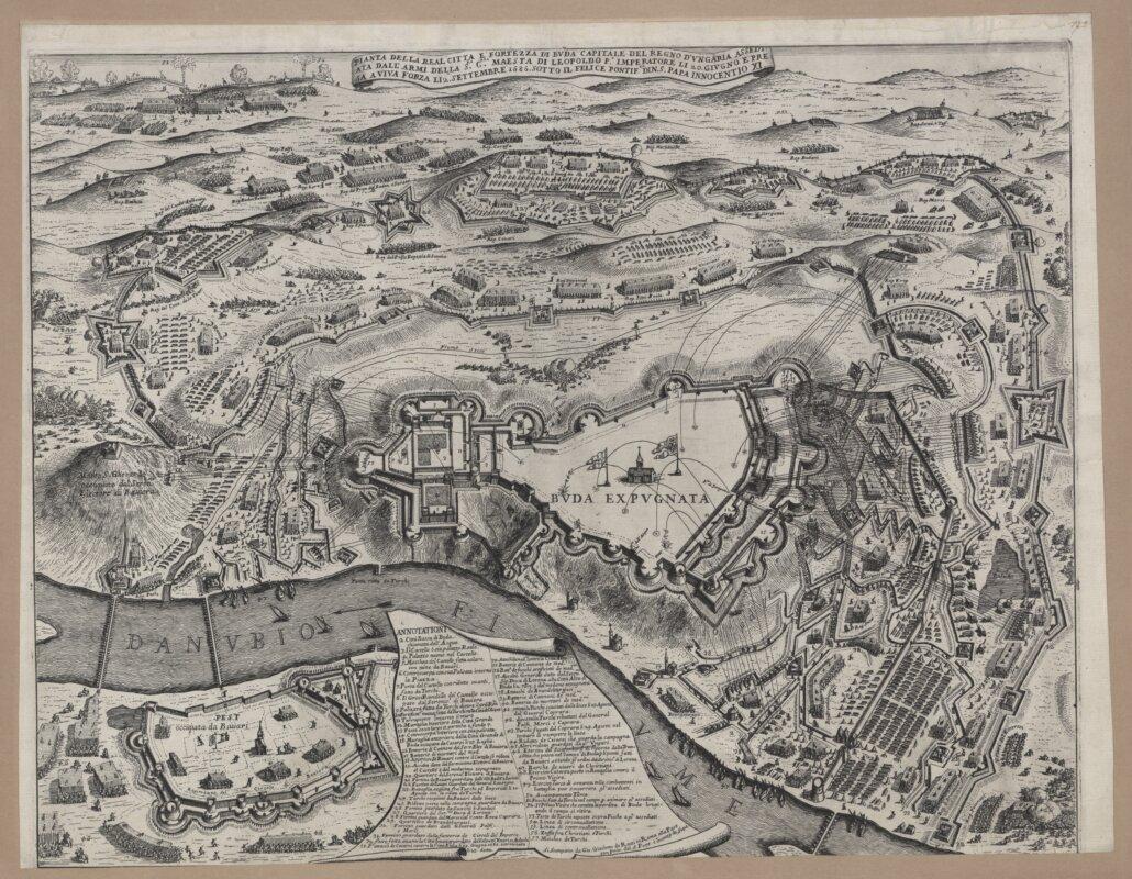 Ismeretlen olasz mester: Buda visszafoglalása, 1686. Részletesen bemutatja az ostromlók táborának védműveit, a circumvallatiót, és a várfalak megközelítéséhez ásott árkokból és redutokból álló contravallatiót. - forrás: MNM