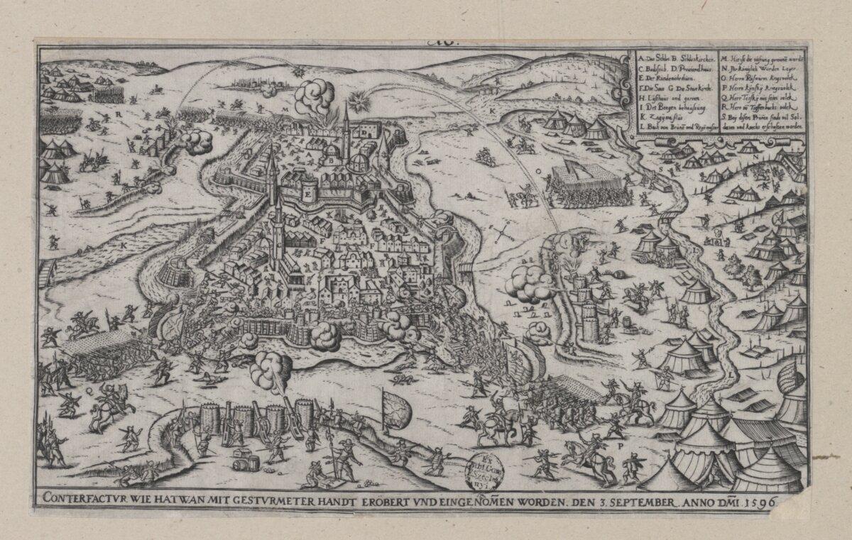 Hans Sibmacher: Hatvan ostroma, 1596. A feltöltött vizesárkon át rohamozzák meg az ágyúk törte réseket. - forrás: MNM