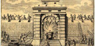 Ismeretlen német mester: Győr ostroma, 1598. A vár kapuját petárdával robbantották be. - forrás: MNM