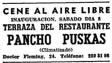 A Pancho Puskás étterem megnyitójának hirdetése - Forrás: mundorealmadrid.com