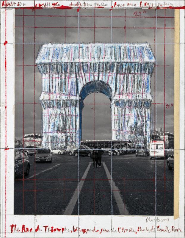 Christo: A becsomagolt Diadalív egyik látványterve - forrás: christojeanneclaude.net