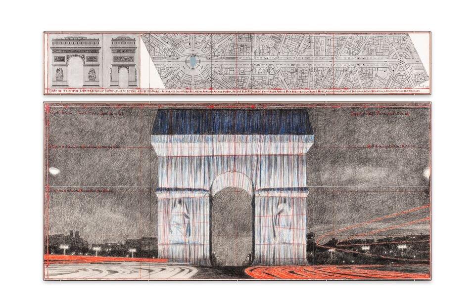 Christo: Tervek a Diadalív becsomagolásához – forrás: Sotheby's