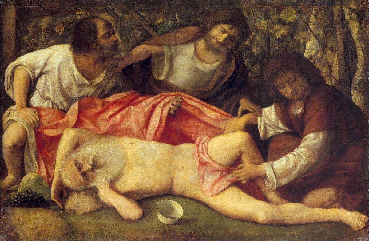 Giovanni Bellini: Noé részegsége - forrás: közkincs