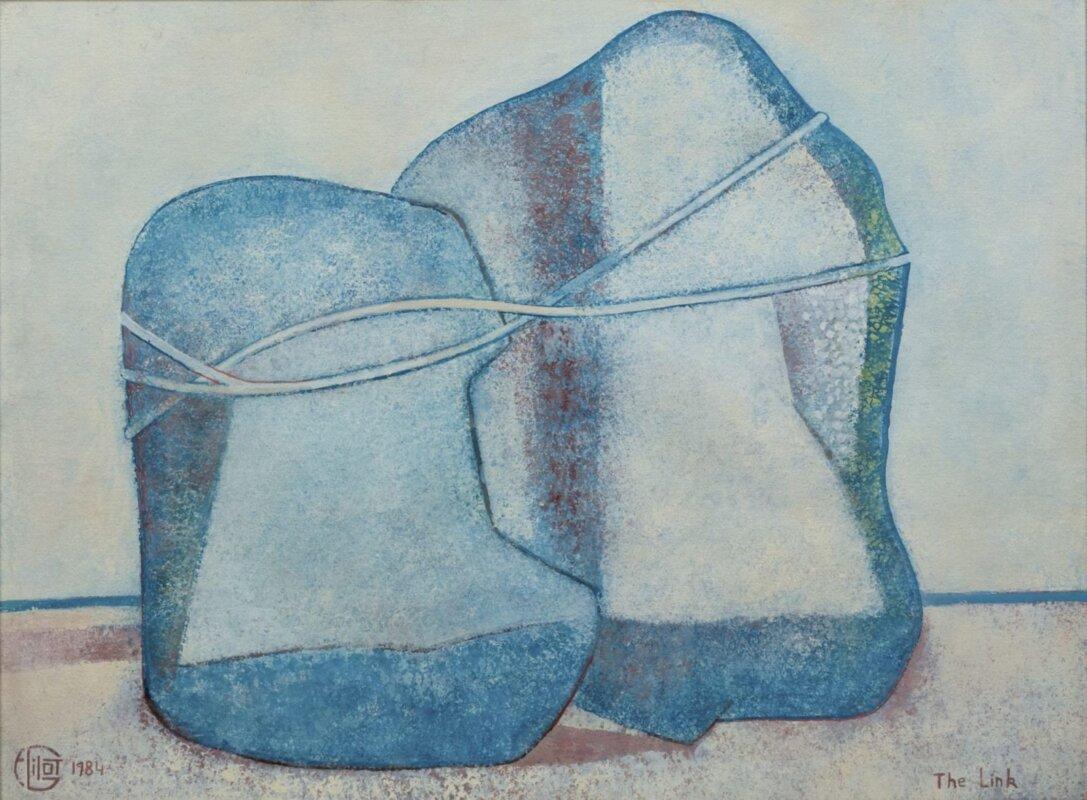 Françoise Gilot: A kapocs, 1984, gouache, papír, 56x76 cm – forrás: Várfok Galéria