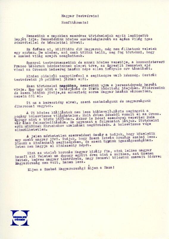 Habsburg Ottó kiáltványának hangfelvételét a madridi magyar rádióban szerette volna lejátszani - Forrás: Habsburg Ottó Alapítvány - habsburgottoalapitvany.hu