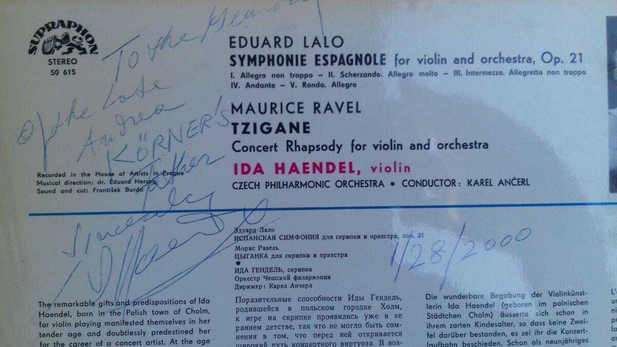 Ida Haendel dedikációja a Supraphon lemez borítóján