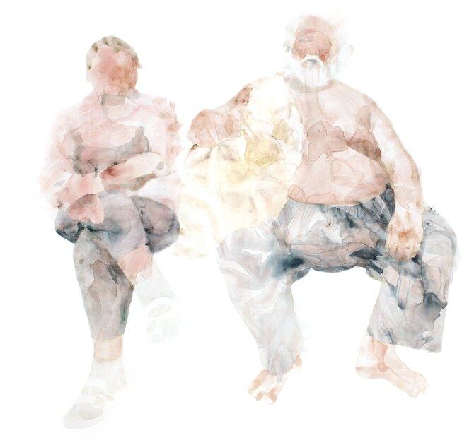 Nemes Anna: Kettős portré Bumbi kutyával, 2015, akril, vászon, 190x200 cm – forrás: Várfok Galéria
