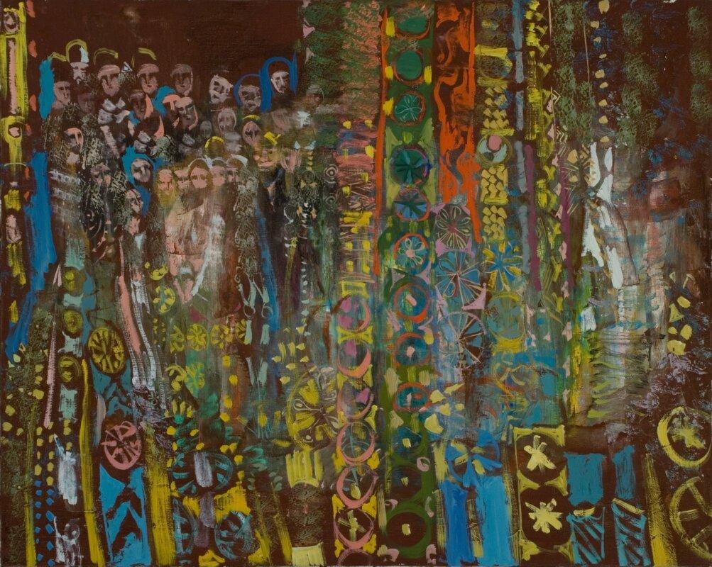 Rozsda Endre: A vádoló kísértet, 1979, olaj, vászon, 73x92 cm, magántulajdon – forrás: Várfok Galéria