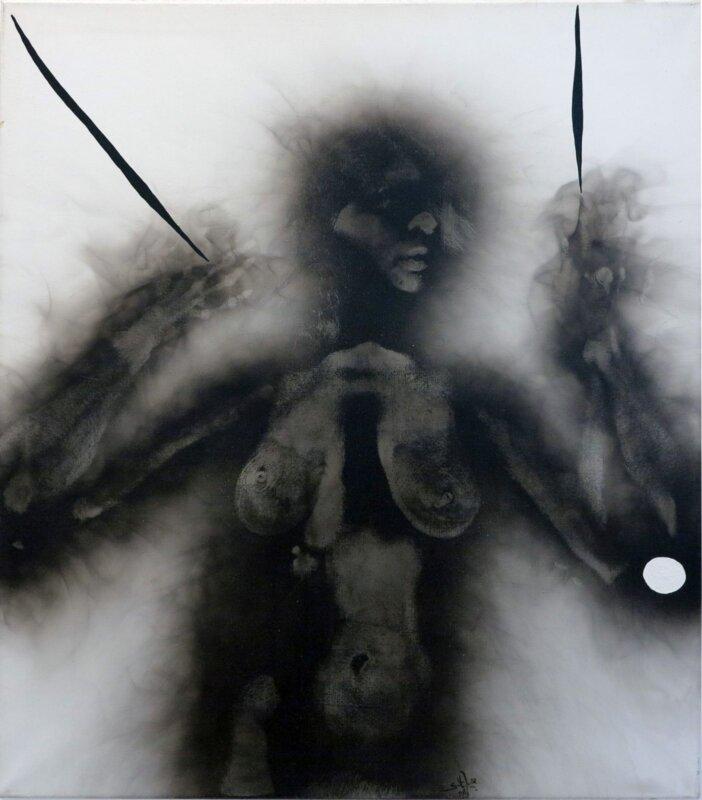 Szirtes János: 92/49, 1992, akril, korom, vászon, 90x80 cm – forrás: Várfok Galéria
