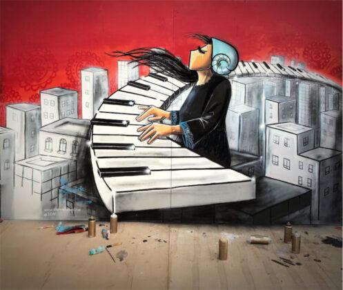 Shamsia Hassani Afganisztán egyik első női graffitisének munkája Isztambulban - forrás: www.shamsiahassani.net/