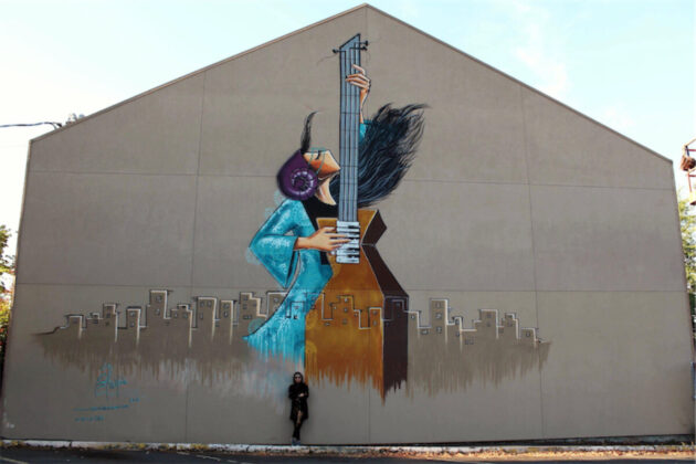 Shamsia Hassani Afganisztán egyik első női graffitisének munkája Oregonban - forrás: www.shamsiahassani.net/