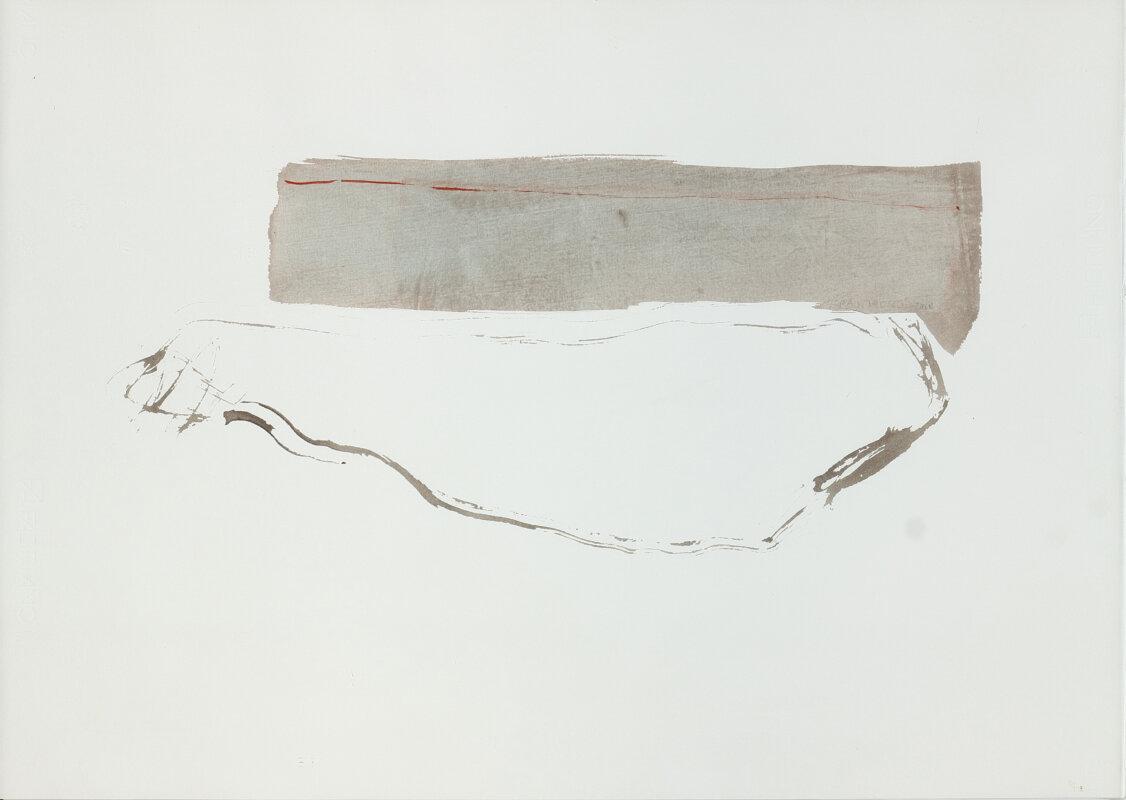 Krajcsovics Éva: Ágy az Andrássy úton II., 2019, akvarell, papír, 50x70cm