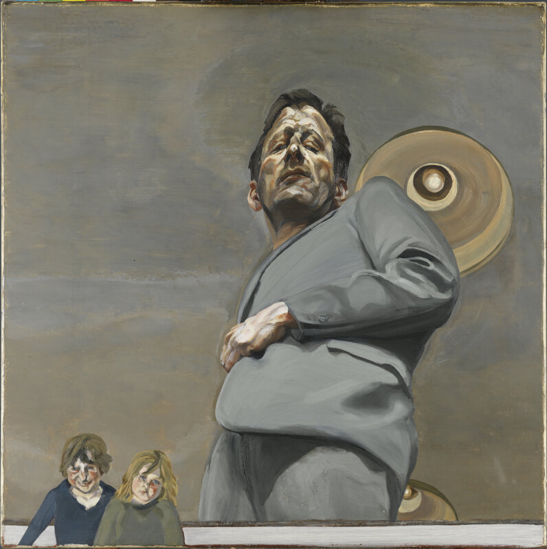 Lucian Freud: Tükrözödés két gyerekkel (önarckép) 1965 - forrás: Museo Nacional Thyssen-Bornemisza, Madrid
