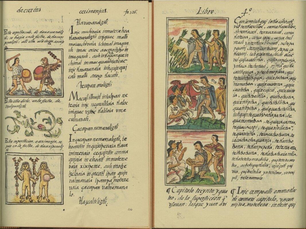 Két lap a Bernardino de Sahagún által írt Firenzei Kódexből. A munka 2015 óta szerepel az UNESCO Világemlékezet listáján. - Forrás: unesco.org
