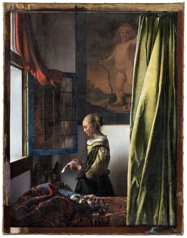 Jan Vermeer van Delft: Levelet olvasó lány nyitott ablaknál (1657-59) a restaurálás után - forrás: Gemäldegalerie Alte Meister, Staatliche Kunstsammlungen Dresden / fotó: Wolfgang Kreische