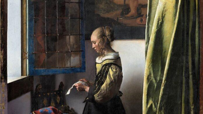 Jan Vermeer van Delft: Levelet olvasó lány nyitott ablaknál (1657-59) a restaurálás után - részlet - forrás: Gemäldegalerie Alte Meister, Staatliche Kunstsammlungen Dresden / fotó: Wolfgang Kreische