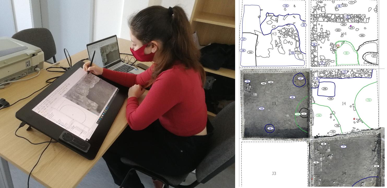 A digitalizáló tábla egy ügyes rajzoló kezében hasznos eszköz lehet az irodai digitalizálás során, hogy gyorsan, a feltárással párhuzamosan készüljenek el a vektoros rajzok. - forrás: MNM