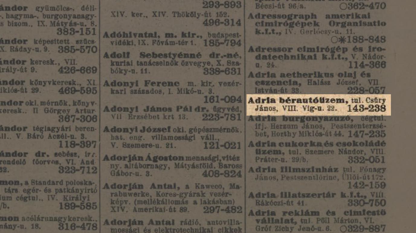 Csűry János: Adria bérautóüzem telefonkönyv 1943 - forrás: Budapest100