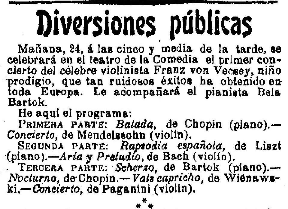 Vecsey Ferenc és Bartók Béla első közös madrid koncertjének programja. La Época, 1906. március 23. - Forrás: Hemeroteca Digital, Biblioteca Nacional de España