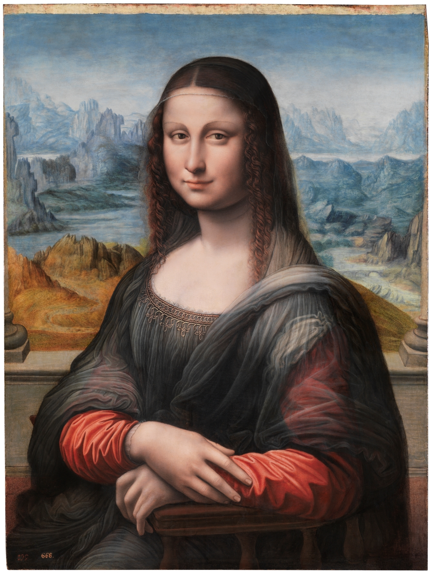 Mona Lisa - készült Leonardo da Vinci műhelyében, a mester felügylete mellett - forrás: Madrid, Museo Nacional del Prado