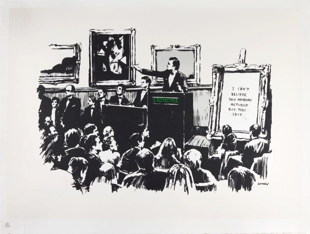 """Banksy: """"Nem hiszem el, barmok, hogy megveszitek ezt a szart"""" – forrás: Sotheby's"""