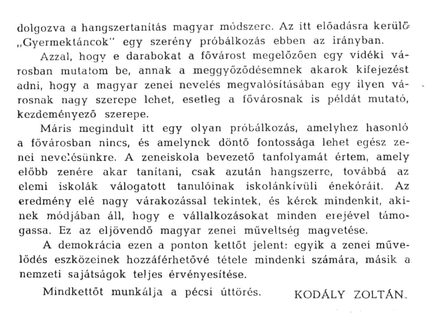 Részlet Kodály Zoltán pécsi beszédéből