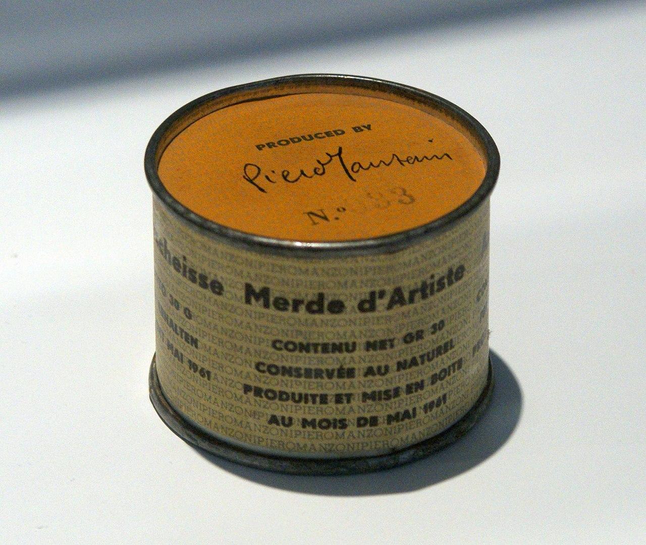 Piero Manzoni: A művész ürüléke – forrás: Wikipedia